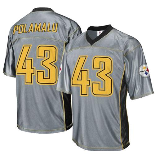 Steelers 43 Polamalu Grey Jersey