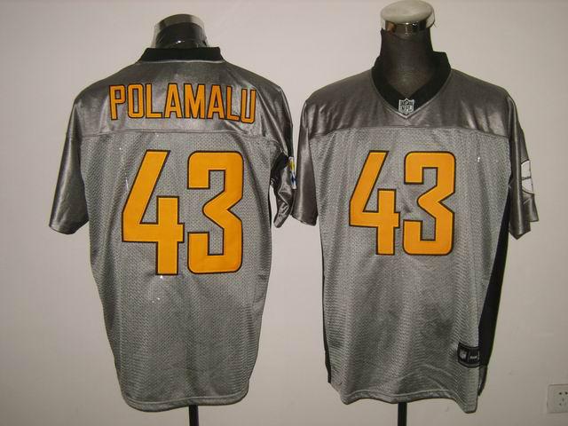 Steelers 43 Polamalu Grey Jerseys