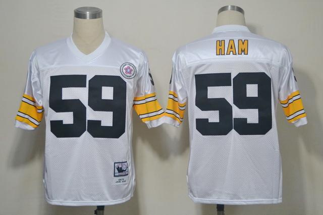 Steelers 59 Ham White Throwback Jerseys