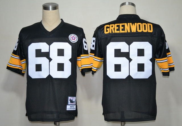 Steelers 68 Greenwood Black Throwback 1975 Jerseys