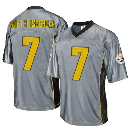 Steelers 7 Roethlisberger Grey Jersey