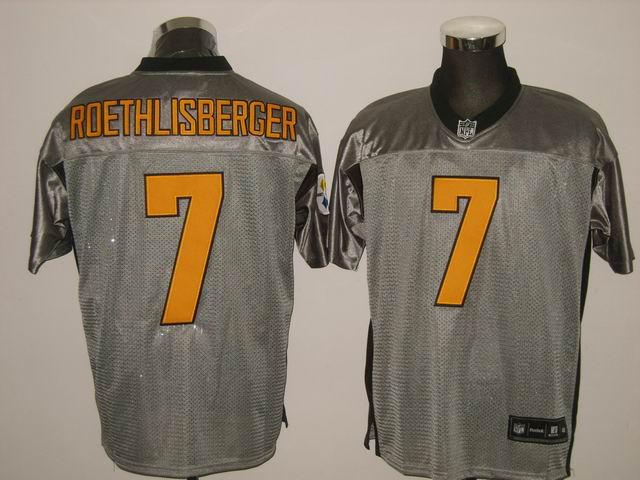 Steelers 7 Roethlisberger Grey Jerseys