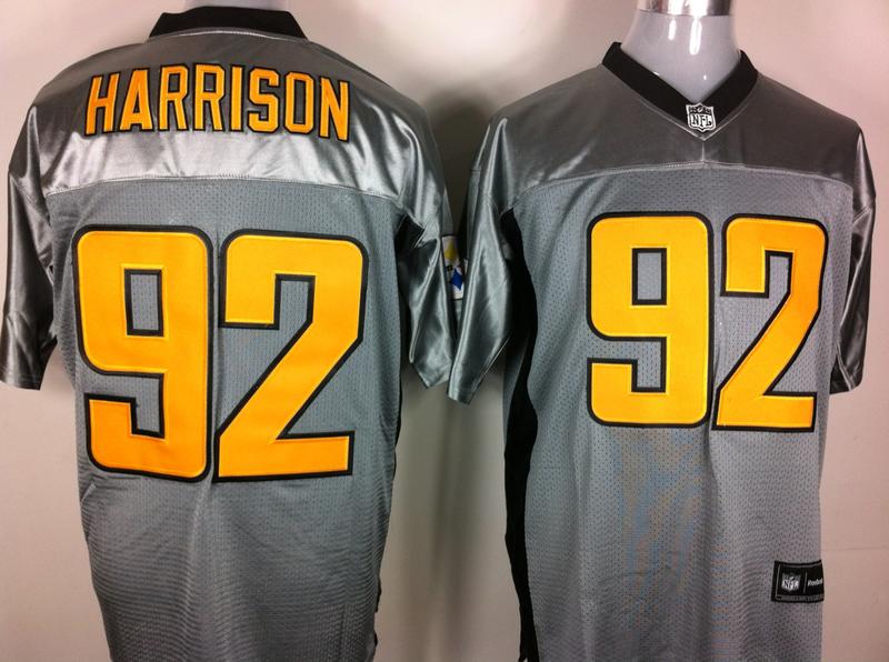Steelers 92 Harrison Grey Jerseys
