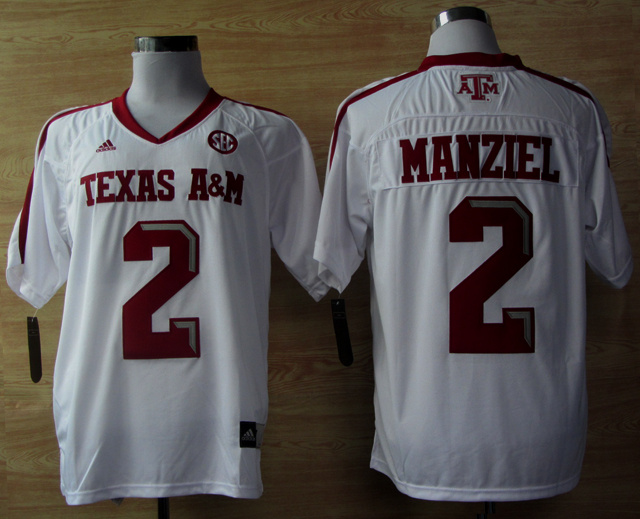 Texas A&M Aggies 2 Johnny Manziel White Jerseys