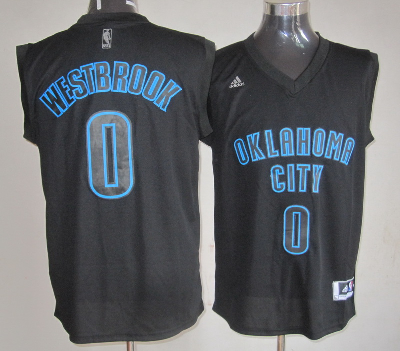Thunder 0 Westbrook Black Jerseys