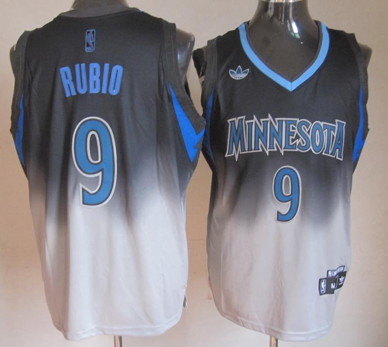 Timberwolves 9 Rubio Black&White Jerseys