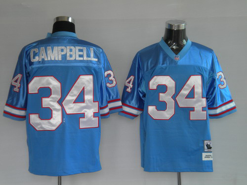 Titans 34 Earl Campbell blue Throwback Jerseys
