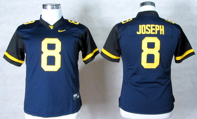West Virginia Mountaineers 8 Karl Joseph Blue Women Jerseys