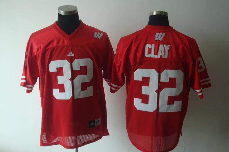 Wisconsin Badgers 32 Clay red Jerseys