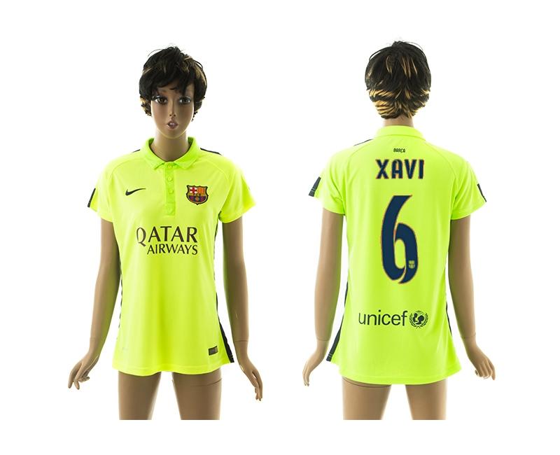 2014-15 Barcelona 6 Xavi Third Away Women Jerseys