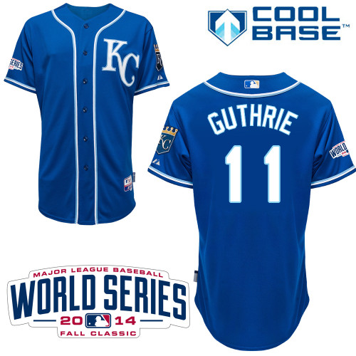 Royals 11 Guthrie Blue 2014 World Series Cool Base Jerseys