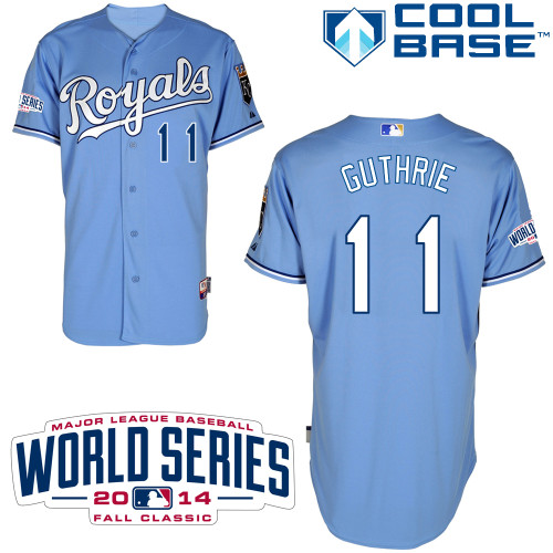 Royals 11 Guthrie Light Blue 2014 World Series Cool Base Jerseys