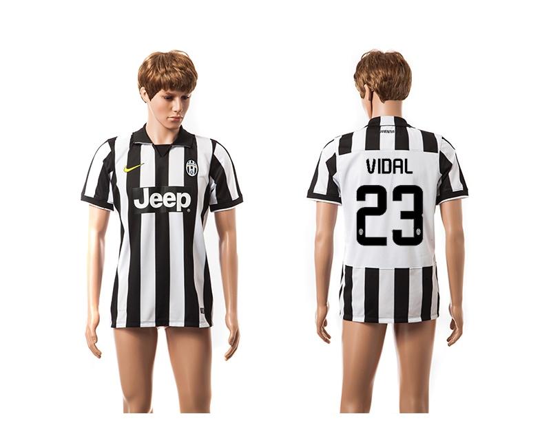 2014-15 Juventus 23 Vidal UEFA Champions League Home Thailand Jerseys