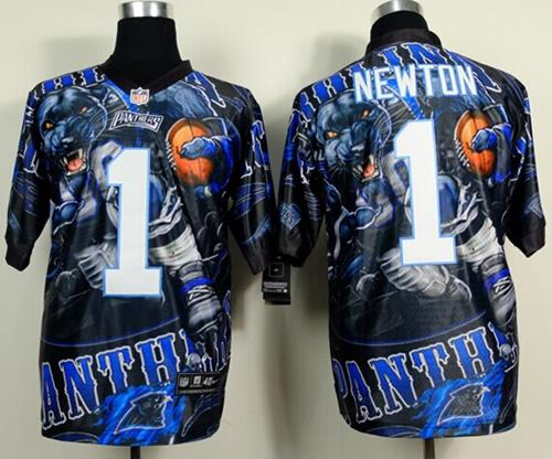 Nike Panthers 1 Newton Stitched Elite Fanatical Version Jerseys