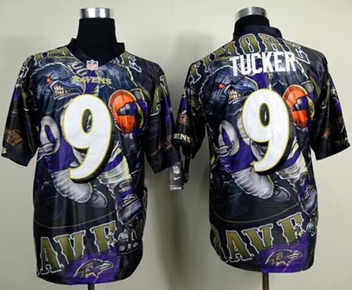 Nike Ravens 9 Tucker Stitched Elite Fanatical Version Jerseys