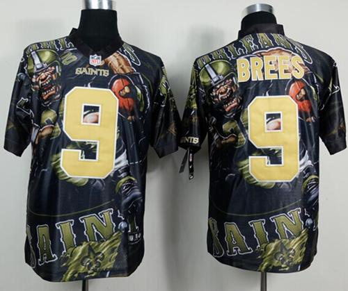 Nike Saints 9 Brees Stitched Elite Fanatical Version Jerseys