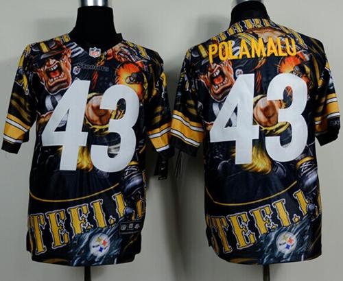 Nike Steelers 43 Polamalu Stitched Elite Fanatical Version Jerseys