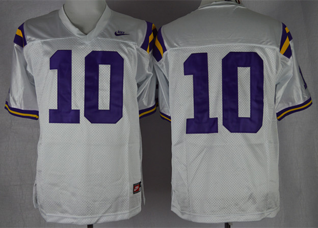 LSU Tigers 10 Addai White Jerseys