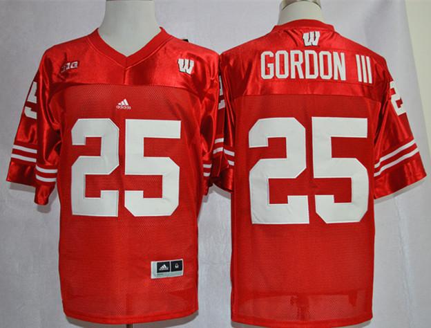 Wisconsin Badgers 25 Melvin Gordon III Red Jerseys