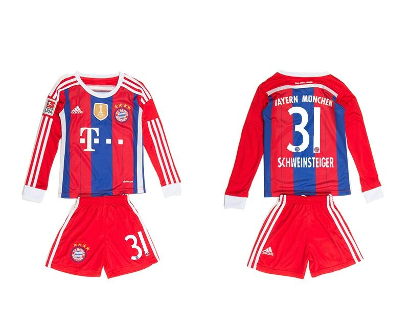 2014-15 Bayern Muchen 31 Schweinsteiger Home Long Sleeve Youth Jerseys