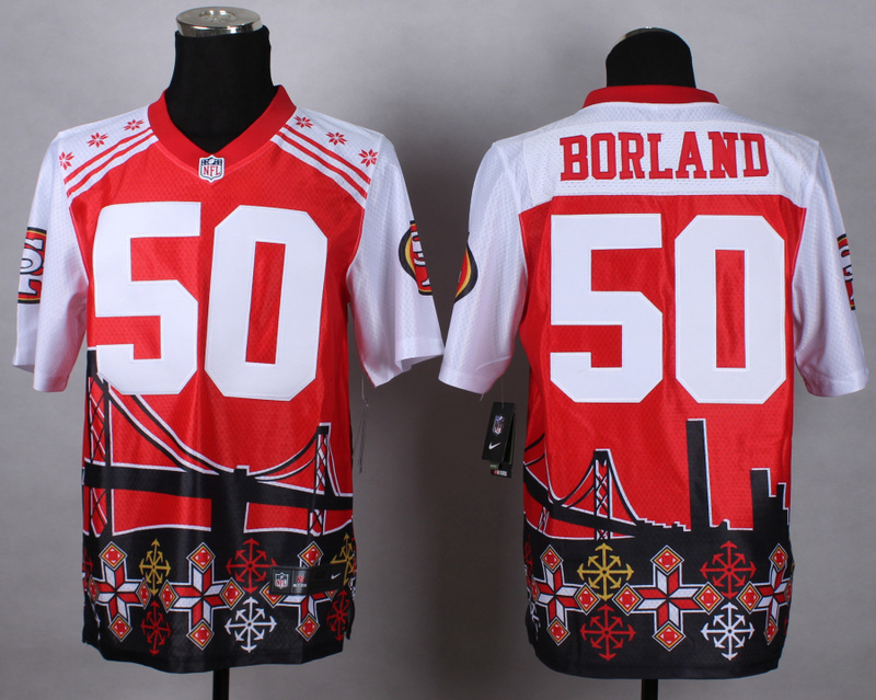 Nike 49ers 50 Borland Noble Elite Jerseys