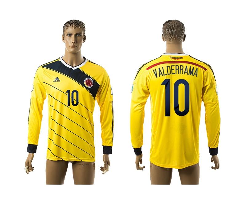 2014-15 Colombia 10 Valderrama Home Long Sleeve Thailand Jerseys