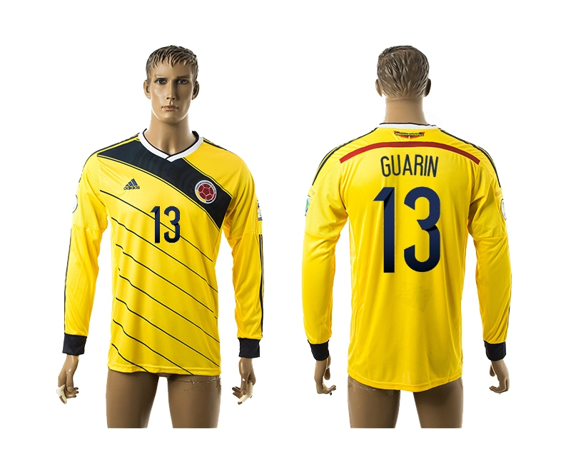 2014-15 Colombia 13 Guarin Home Long Sleeve Thailand Jerseys