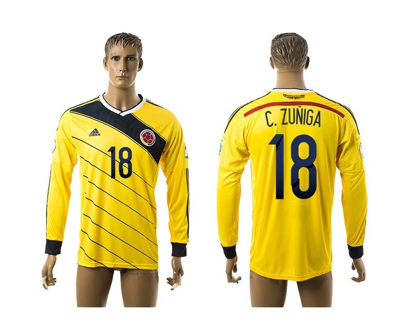 2014-15 Colombia 18 C.Zuniga Home Long Sleeve Thailand Jerseys