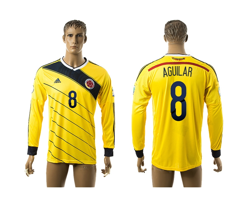 2014-15 Colombia 8 Aguilar Home Long Sleeve Thailand Jerseys