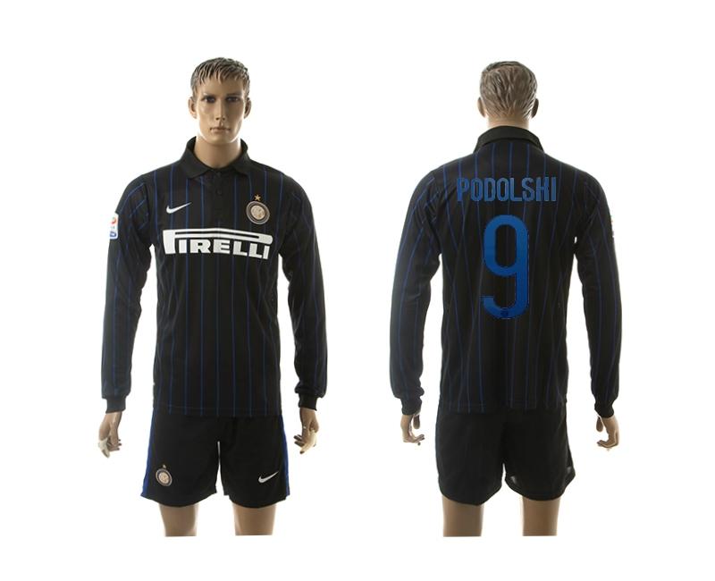 2014-15 Inter Milan 9 Podolski Home Long Sleeve Thailand Jerseys