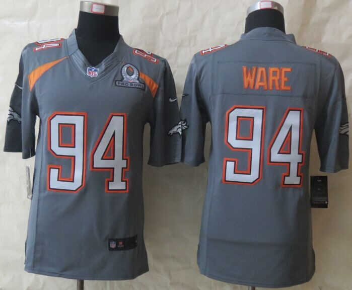 Nike Broncos 94 Ware Grey 2015 Pro Bowl Elite Jerseys