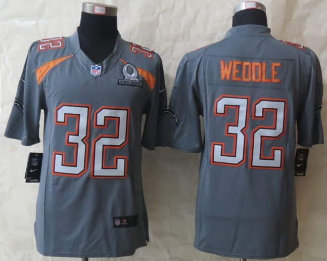 Nike Chargers 32 Weddle Grey 2015 Pro Bowl Game Jerseys
