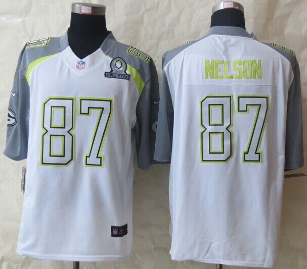 Nike Packers 87 Nelson White 2015 Pro Bowl Elite Jerseys