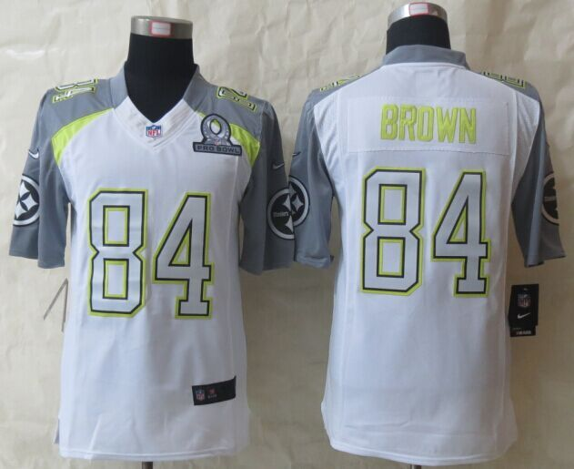 Nike Steelers 84 Brown White 2015 Pro Bowl Game Jerseys
