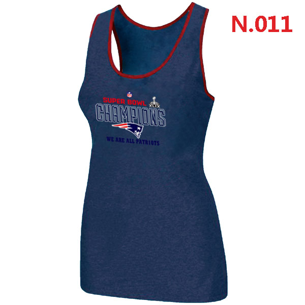 New England Patriots Majestic Blue Super Bowl XLIX Women Tank Top