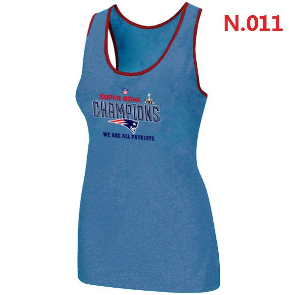 New England Patriots Majestic L.Blue Super Bowl XLIX Women Tank Top