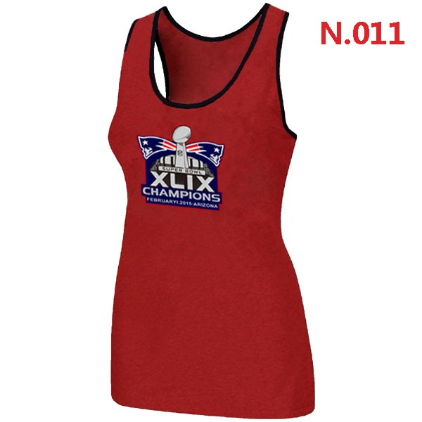 New England Patriots Majestic Super Bowl XLIX Champion Mark Women Tank Top Red