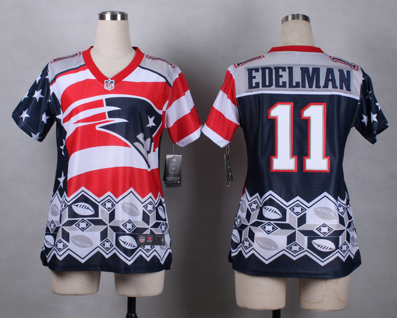 Nike Patriots 11 Edelman Noble Fashion Women Jerseys