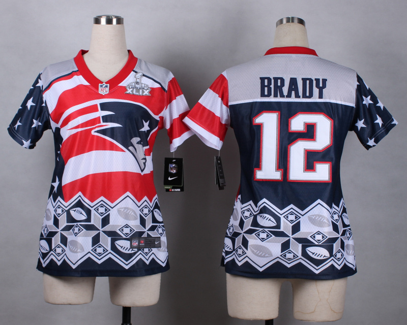 Nike Patriots 12 Brady Noble Fashion 2015 Super Bowl XLIX Women Jerseys