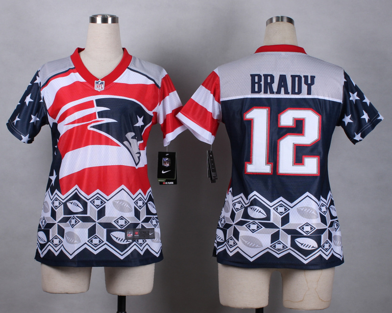 Nike Patriots 12 Brady Noble Fashion Women Jerseys