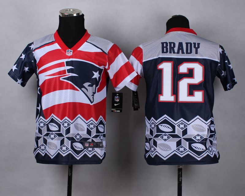 Nike Patriots 12 Brady Noble Fashion Youth Jerseys