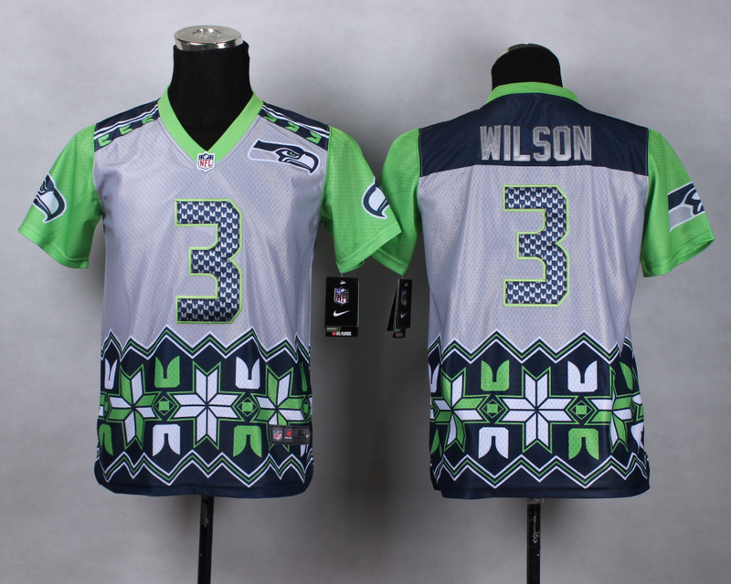 Nike Seahawks 3 Wilson Noble Fashion Youth Jerseys