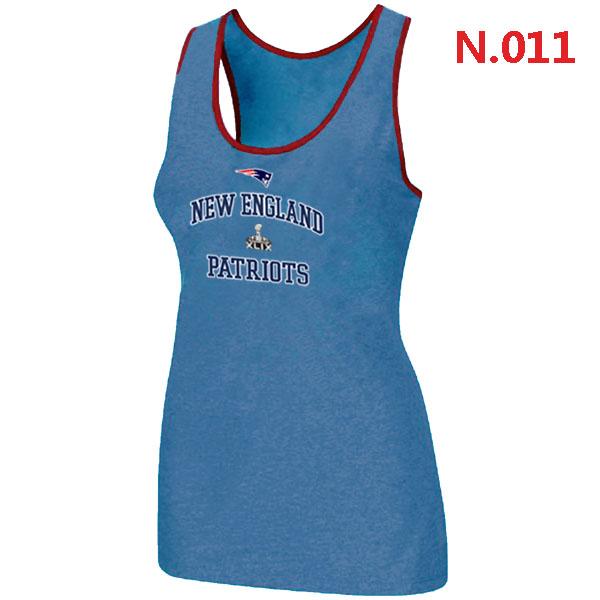 Patriots Majestic Super Bowl XLIX Bound Heart & Soul Women Tank Top L.Blue