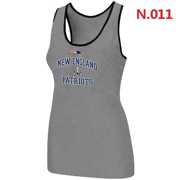 Patriots Majestic Super Bowl XLIX Bound Heart & Soul Women Tank Top L.Grey