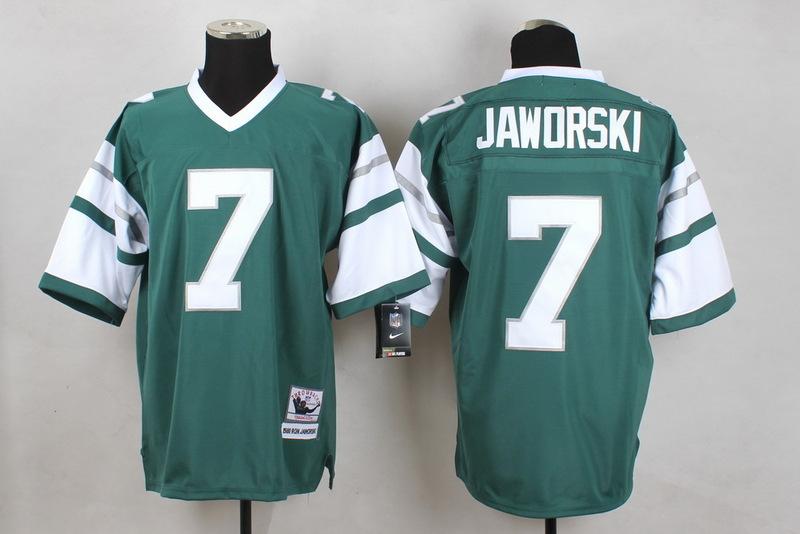 Jets 7 Jaworski Green M&N Jersey