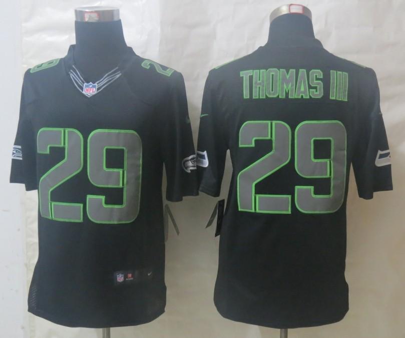 Nike Seahawks 29 Thomas III Impact Limited Black Jerseys