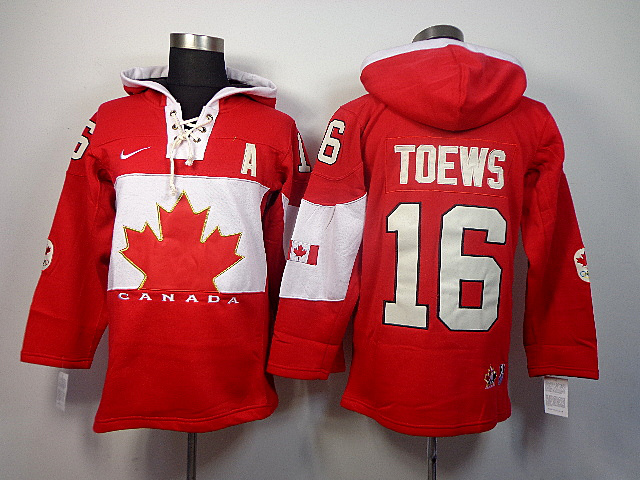 Canada 16 Toews Red 2014 Olympics Hooded Jerseys