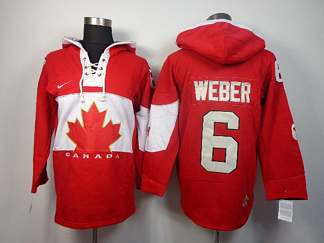 Canada 6 Weber Red 2014 Olympics Hooded Jerseys
