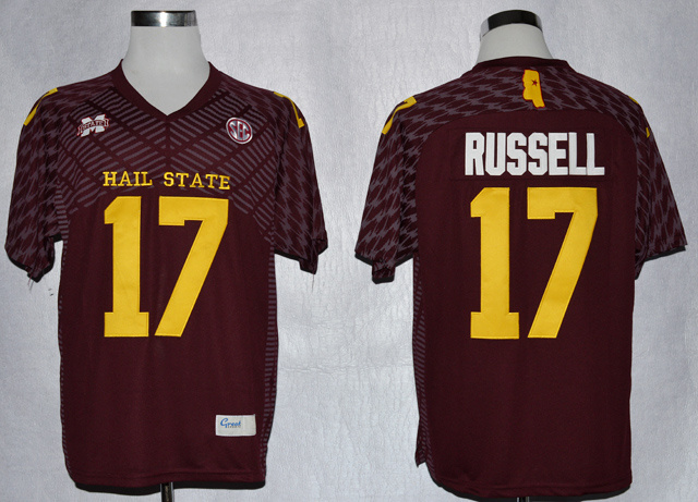 Mississippi State Bulldogs 17 Tyler Russell Red Jersey