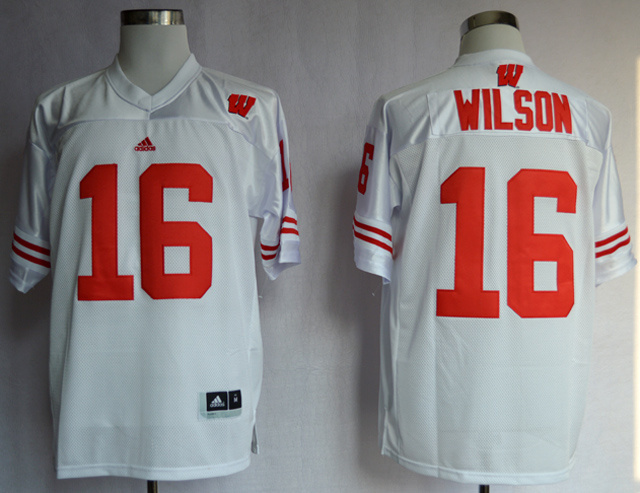 Wisconsin Badgers 16 Russell Wilson White Jersey